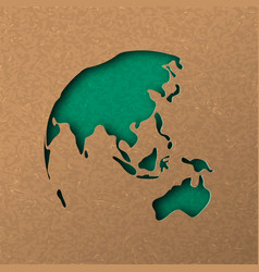 green papercut world map with australia and asia vector image