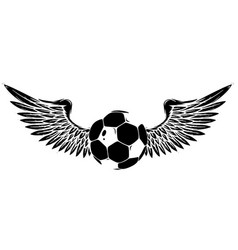 grunge image with winged soccer ball black vector image