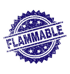 Grunge textured flammable stamp seal vector