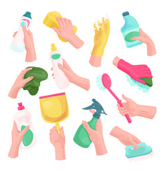 hands with cleaning tools and cleanser rag vector image