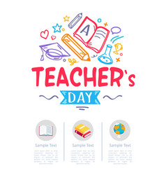 Happy teachers day poster with icons of stationery vector