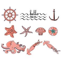 hello sea set of various sea creatures icons vector image