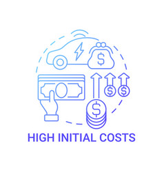 High initial eco vehicle costs concept icon vector