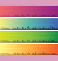 Hiroshima multiple color gradient skyline banner vector
