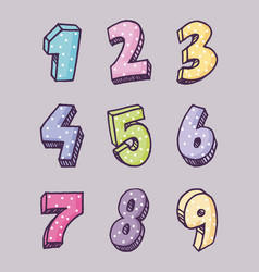 icon set of numbers design vector image