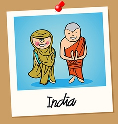 India travel polaroid people vector