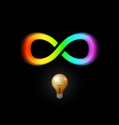 infinity symbol and bulb icon on dark background vector image