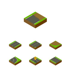 Isometric road set of driveway turn asphalt and vector
