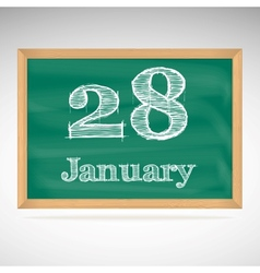 January 28 inscription in chalk on a blackboard vector