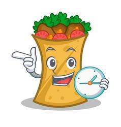Kebab wrap character cartoon with clock vector