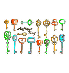 Key in different form and material ink color set vector