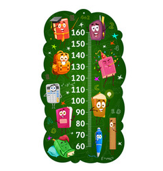 Kids height chart ruler with books and stationery vector