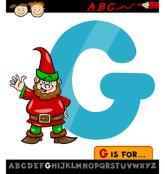 letter g with gnome cartoon vector image