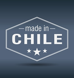 Made in Chile hexagonal white vintage label vector
