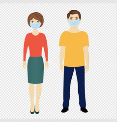 Man and woman with medical masks isolated vector