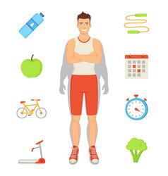 Man sportive activities set vector