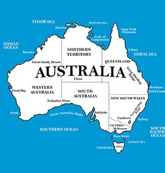 Map of Australia with locations on a blue vector image