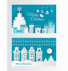 merry christmas greeting card made of paper cut vector image