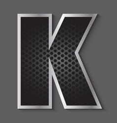 Metal grid font - letter K vector