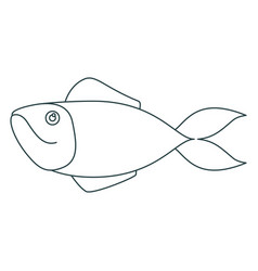 Monochrome contour of salmon fish vector
