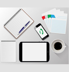 office desk working environment office supplies vector image