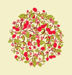 pattern with Cherries and blossom Round shape vector image