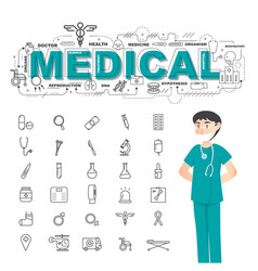 Physician with medical icons set on white vector