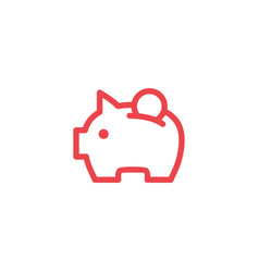 piggy bank line outline logo icon vector image