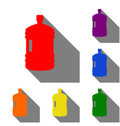 plastic bottle silhouette sign set of red orange vector image