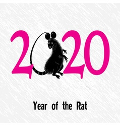 Rat mouse as symbol for year 2020 by Chinese trad vector image