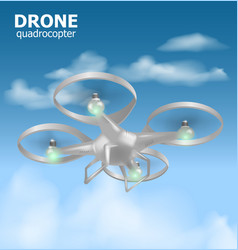 realistic remote air drone quadrocopter flying in vector image