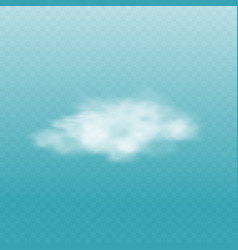 Realistic white fog cloud isolated on sky blue vector