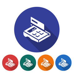Round icon of pos-terminal with credit card flat vector