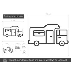 Sanitary station line icon vector