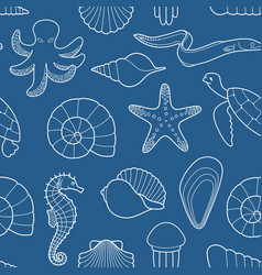 Seamless background on theme sea and vector
