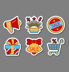 season sale icon sticker set clearance flat style vector image