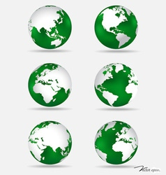 set modern green globes vector image