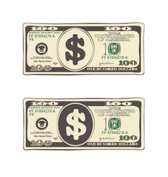 Set of bill one hundred dollars in flat style vector