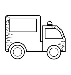 Silhouette package delivery services in truck vector