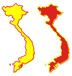simplified map vietnam outline fill and stroke vector image
