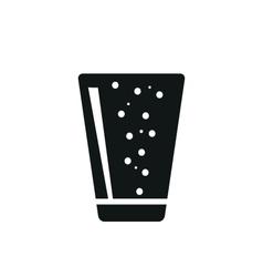 Soda in simple black vertical glass icon vector