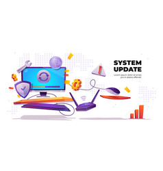 system update banner computer software install vector image