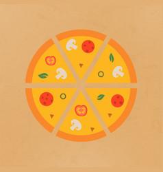tasty pizza pizza sliced into vector image