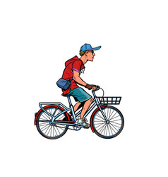 teenager guy on a city bike vector image