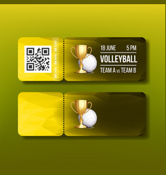 ticket with tear-off coupon on volleyball vector image