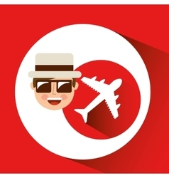Tourist man with camera and airplane vector