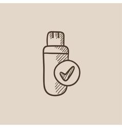 USB flash drive sketch icon vector image