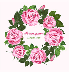Wedding invitations with pink roses wreath on the vector