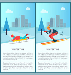Wintertime sled and skier set vector