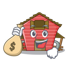 With money bag character red barn building with vector